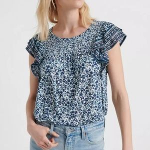Lucky Brand Floral Ruffle Sleeve Top Medium